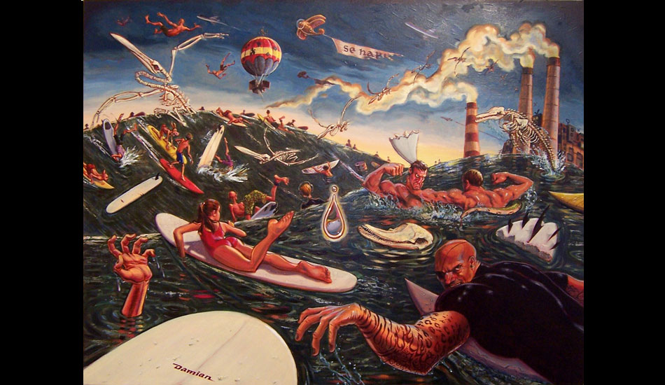 """Cacophony in Sea Major: Out here in LA, the experience of paddling out is like navigating through an epic movie battle scene. I've heard from those in urban surf locales around the world, this is a universal feeling. The title is derived from imagining the accompanying musical score. <a href=\""""http://www.damianfultonart.com/\"""">Damian Fulton</a>"""