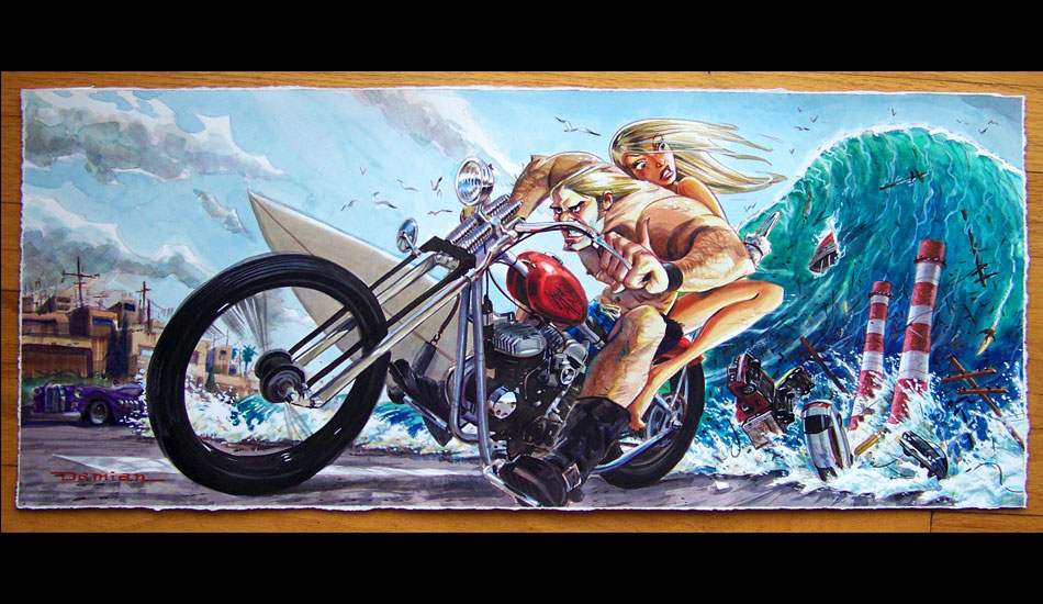 """Full Throttle: Objects in rearview mirror are larger than they appear. <a href=\""""http://www.damianfultonart.com/\"""">Damian Fulton</a>"""