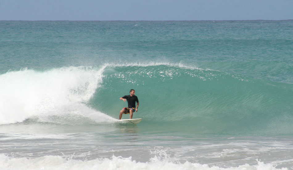 Bryan Pohlman on a small but fun day at the beach break.