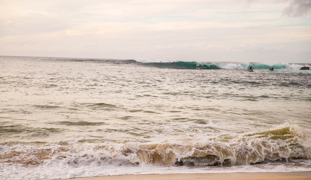 The waves started breaking right after the guys paddled out –so naturally –they surfed a few in. Photo: Jeremy Searle