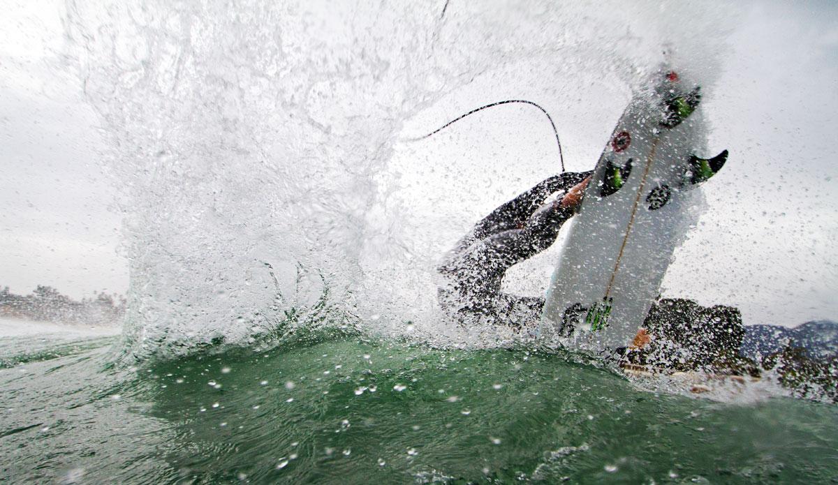 "LA-based surfer Matt Hoffman adding a visual aid to the definition of ""fins out"" somewhere close to home. Photo: <a href=\""http://www.maxxbuchanan.com/\"">Maxx Buchanan.</a>"