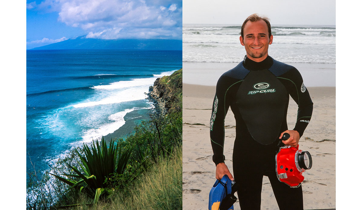 "In November of 1998 I moved to Maui to get as much experience as I possibly could in heavier waves.  I would surf Honolua Bay nearly every day that it broke.  I got some of the best waves of my life as well as some of the worst beatings.  It certainly helped me become a better swimmer.  Also shown is a shot of me with one of my first water housings.  It was an Aquatech housing equipped with a snow ski pole grip.  Aquatech has certainly come a long way since then.  That bowling right hander coming off my forehead is pretty radical too! Photo: <a href=""http://anthonyghigliaprints.com/\"">Anthony Ghiglia</a>"
