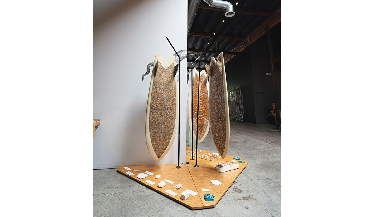 "Art, Environmental statement, and surfboard, all mashed up together. Photo: <a href=""https://jeremybishopphotography.com/\"">Jeremy Bishop</a>"