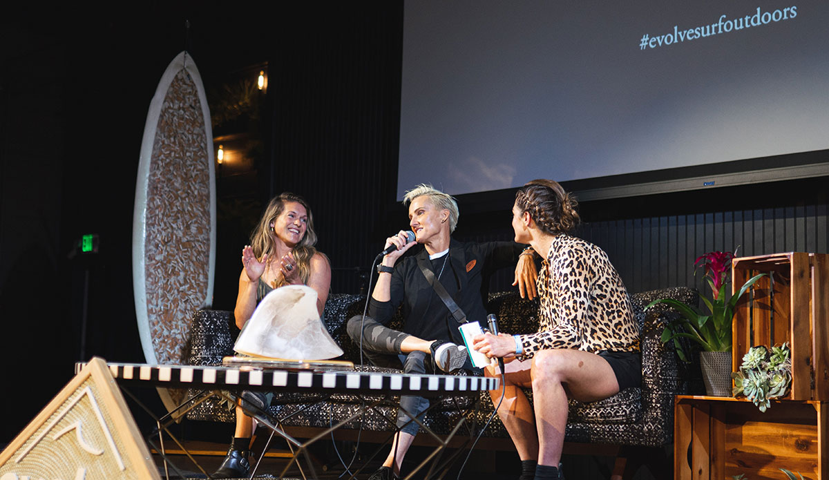 "Michelle Parker, Keala Kennelly, and Bianca Velenti ended the 2019 EVOLVE Summit on a high note. Photo: <a href=""https://jeremybishopphotography.com/\"">Jeremy Bishop</a>"