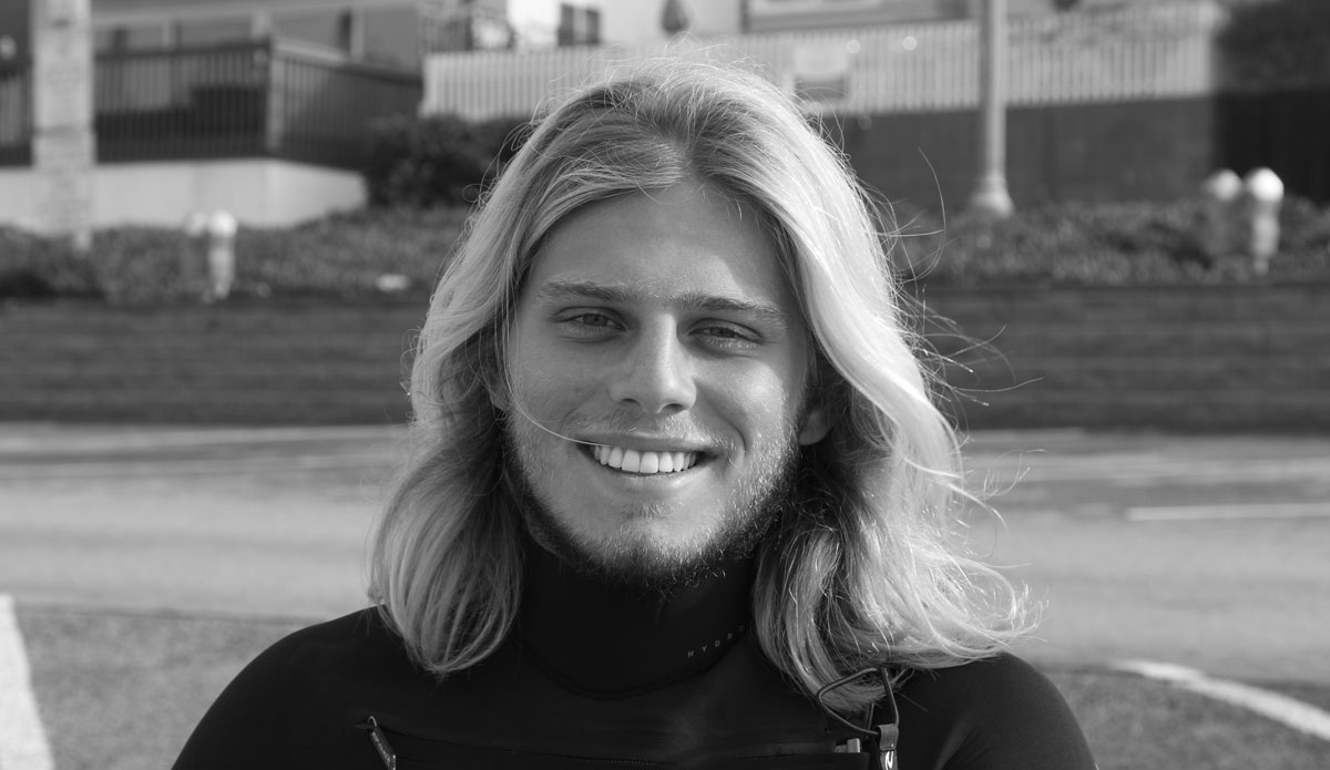 "Fernando Bernardinello: 18; Student; Brazil - ""This is my first surf here in California...The onshore is blowing out, but there are some fun sections out there.\"" Photo: Dunn"