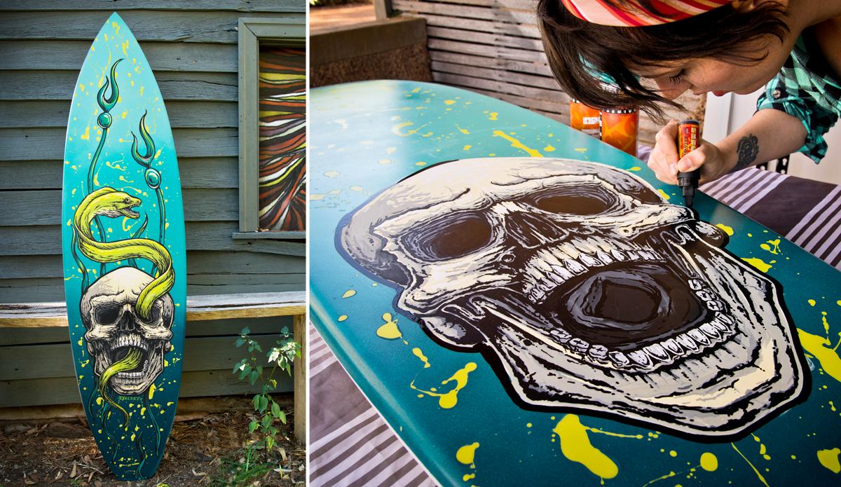 """Fieldey painting a surfboard 2014. Photo: <a href=\""""http://www.mattfieldesphotography.com/\"""">Matt Fieldes Photography</a>"""