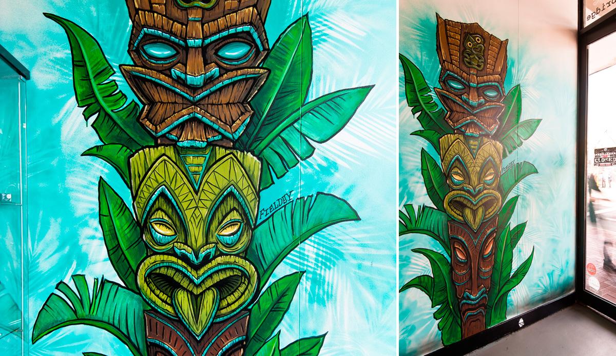"\""Tiki Totem\"" 2014, in-store mural, Red Stripe Clothing, Perth."