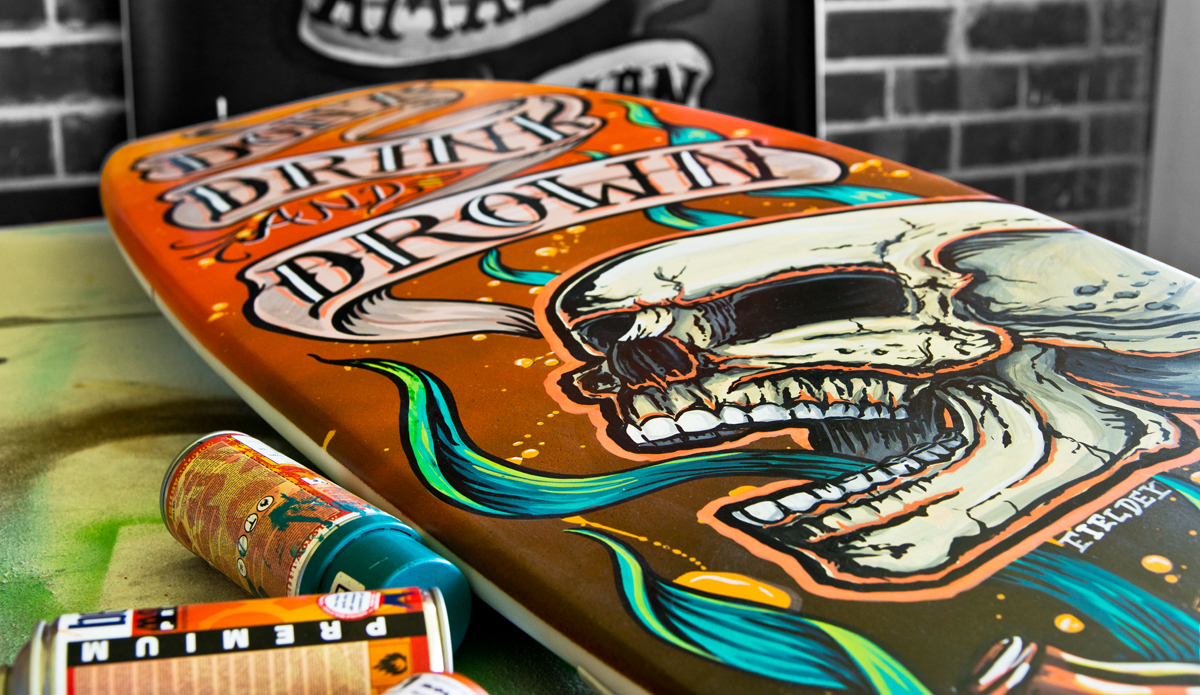 ""\""""Don't Drink and Drown"""" 2014, surfboard commission for Royal Life Saving WA. Photo: <a href=""""http://www.mattfieldesphotography.com/"""">Matt Fieldes Photography</a>""1200|695|?|en|2|f22a2cf431dddb7140c9b33574468ef5|False|UNLIKELY|0.3213104009628296