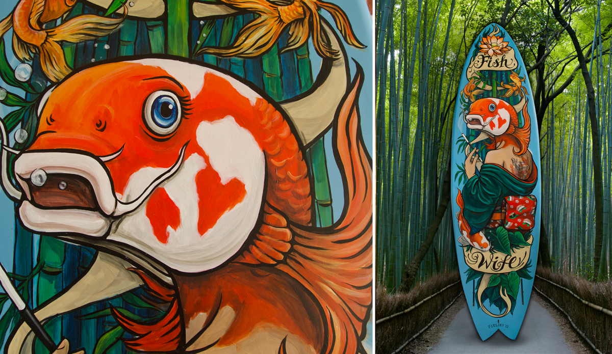 "\""Fish Wife\"" 2012, surfboard art."