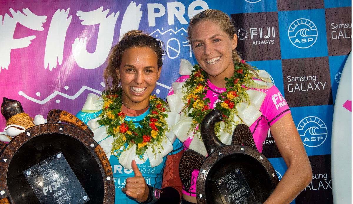 "Sally Fitzgibbons and Stephanie Gilmore, winner and runner up. Photo: <a href=""http://www.aspworldtour.com/\"">ASP</a>"