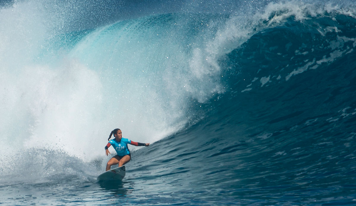"Sally Fitzgibbons on her way to a win in Fiji. Photo: <a href=""http://www.aspworldtour.com/\"">ASP</a>"