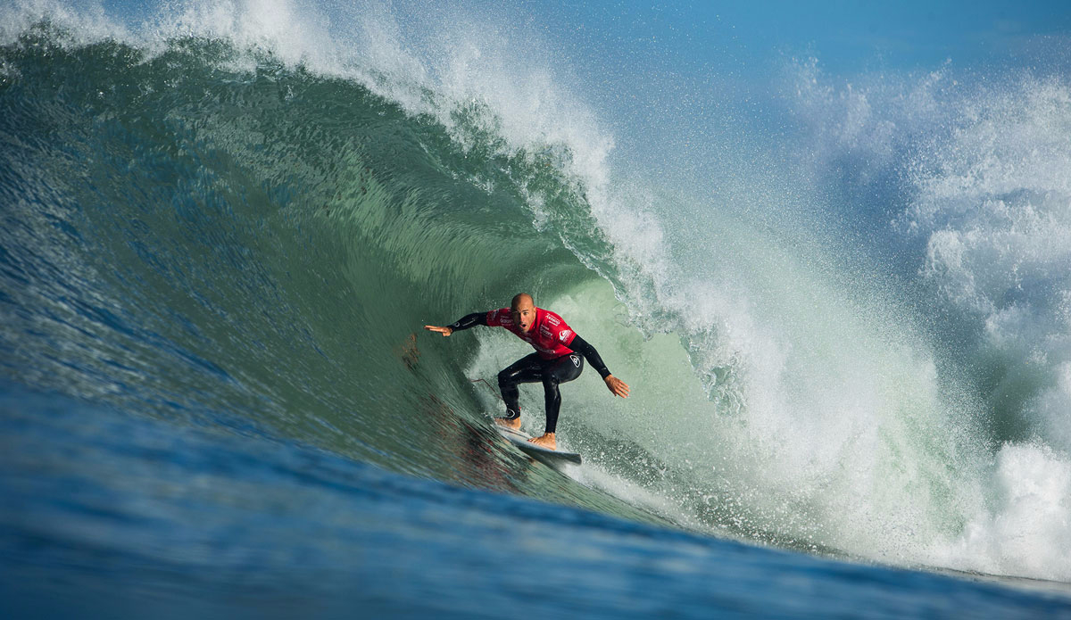 "Kelly Slater of the USA (pictured) during Round 1 at the Quiksilver Pro France. Photo: <a href=""http://www.worldsurfleague.com/\"">WSL</a>/<a href=\""https://instagram.com/damien_poullenot/\"">Damien Poullenot</a>"