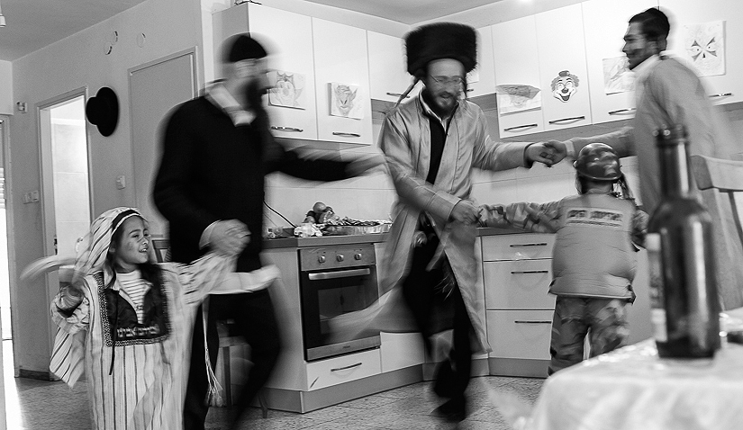 "Celebrating ""Purim\"" holiday at Meir\'s house in Jerusalem."