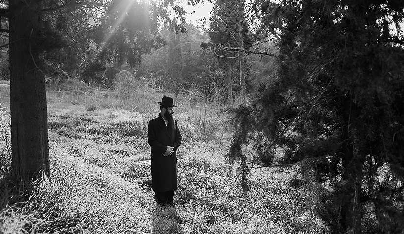 "A moment of prayer in ""Sanhedria Forest\"" near Jerusalem."
