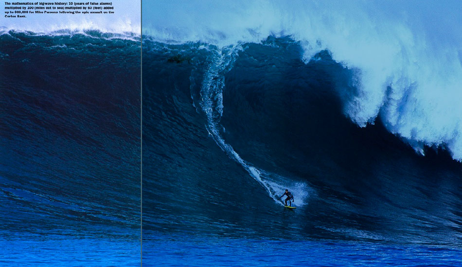 January 19, 2001: Project Neptune at Cortes Bank. This was a frontal assault on a wave breaking 100 miles out to sea, by a dedicated, daring crew that included Peter Mel, Ken Collins, Mike Parsons, Brad Gerlach, Evan Slater and photographer Rob Brown. On this day Mike Parsons caught a monster wave that beat out Flea Virostko's Mavericks bomb for the $60,000 2000/2001 Swell XXL Big Wave Awards money. Photo courtesy Rob Brown.