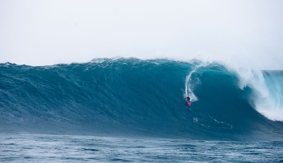 """Going back to the 1990s and some giant days at Himalayas and Waimea Bay, Brock Little has always said \""""Shane Dorian is the best big-wave surfer in the world.\"""" And Brock does not deliver such accolades lightly. Twenty years later, Dorian is proving Brock right - left or right, paddle or tow, tropical water or ball-freezing, Jaws, Chopes, Mavericks and who knows what he gets up to in hidden-away places in Hawaii. He\'s doing it for family, love, money, fun. He\'s a lad insane. Photo: Fred Pompermayer."""