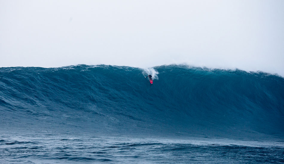 """Shane Dorian at the start of a Jaws 2013 wave that Evan Slater called: \""""The greatest big wave ever surfed in the history of the universe.\"""" Photo: Fred Pompermayer."""