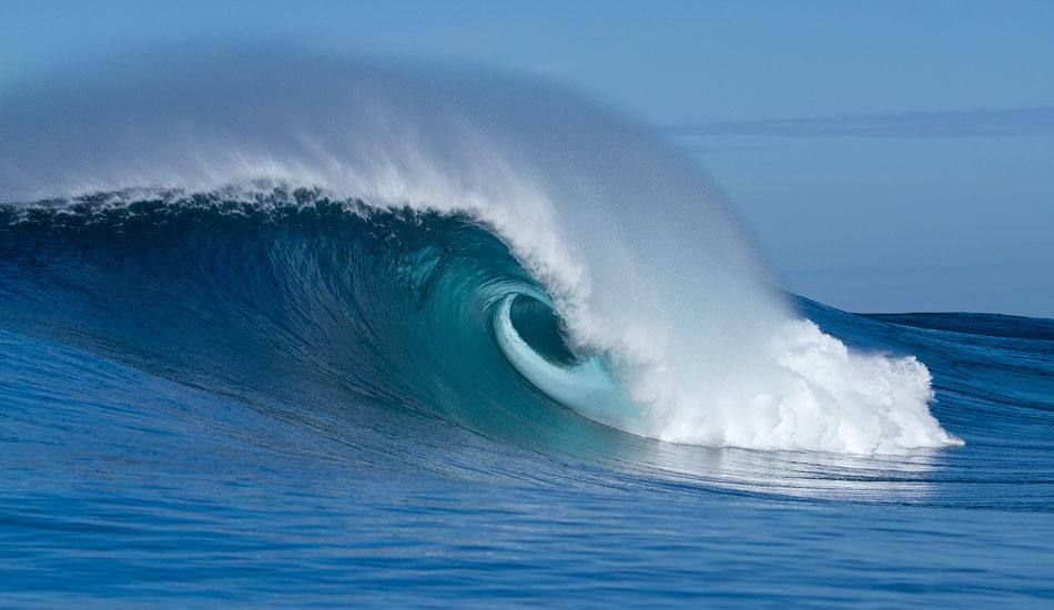 "Heaving blue barrels greeted Greg and the crew. Photo: <a href=\""http://www.mavsurfer.com\""> Frank Quirarte.</a>"