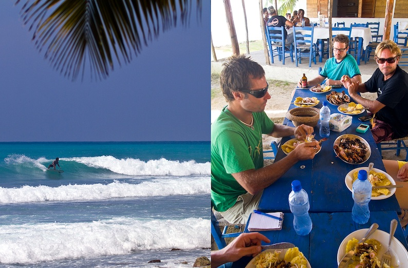 Emiliano Cataldi at Blue Point, working up an appetite for lunch at one of the many casual seafood restaurants in Kabik.  Photo: John Seaton Callahan.