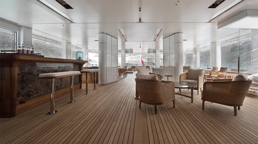 The yacht\'s interior was designed by Christian Liaigre.