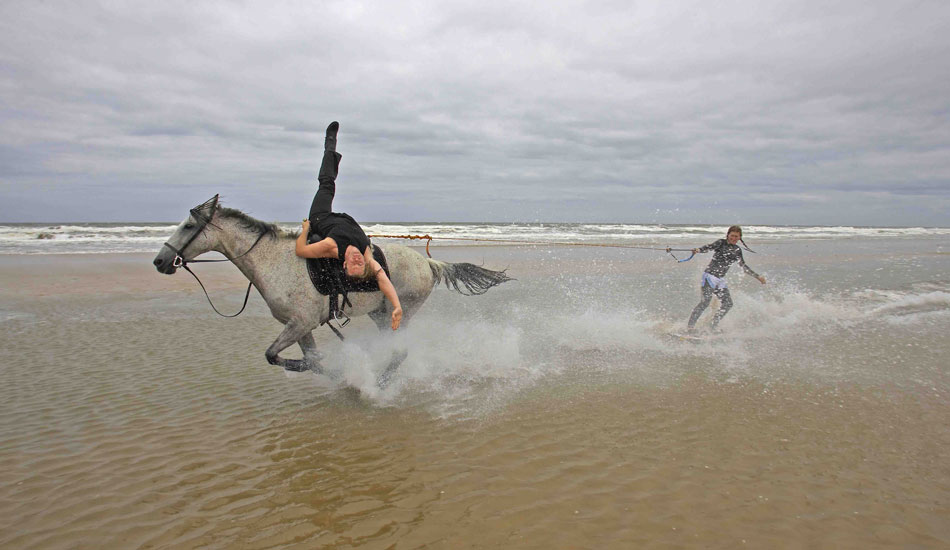 Dan and Sam pushing the limits. Photo: British Horseboarding Association