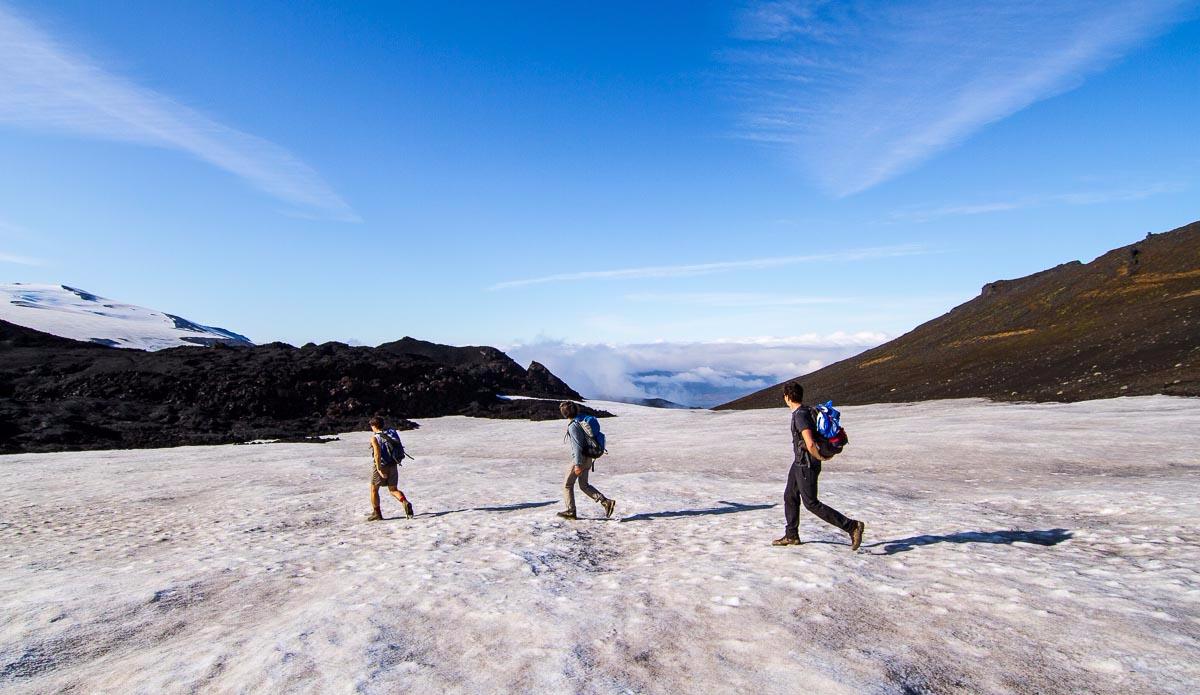 Walking on the tracks of the Volcano Eyjafjöll\'s eruption of 2010. Photo: Ben Bireau / PuraVida Images