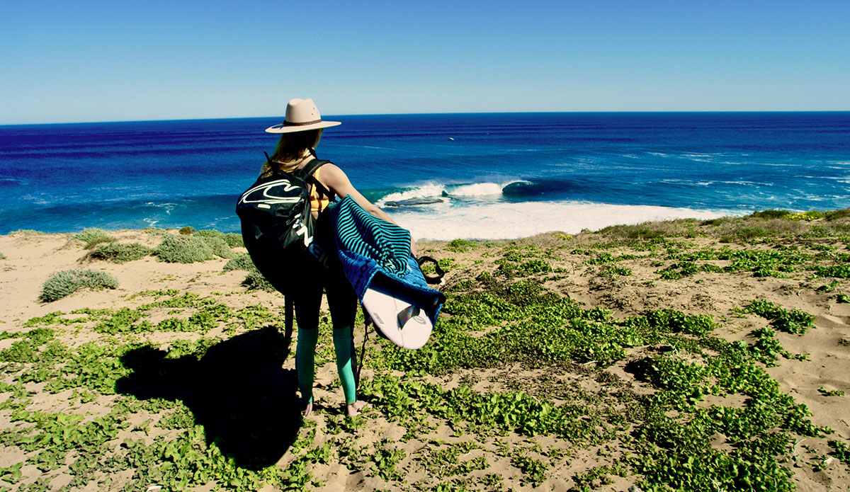 """Imogen and Australia's answer to Teahupo'o. Trekking hours through the desert amongst countless snakes, emu and kangaroos, we arrived to watch endless waves reel off this reef, with not a soul in sight. Photo: <a href=\""""http://www.morganmaassen.com/\"""">Morgan Maassen</a>"""