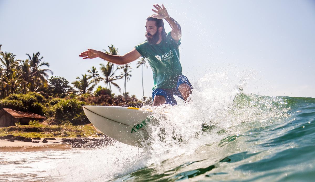 "Lucas is surfing in Edawa beach, Kerala region. Photo: <a href=\""http://www.Godoberta.com\"">GodoBerta.com</a>"