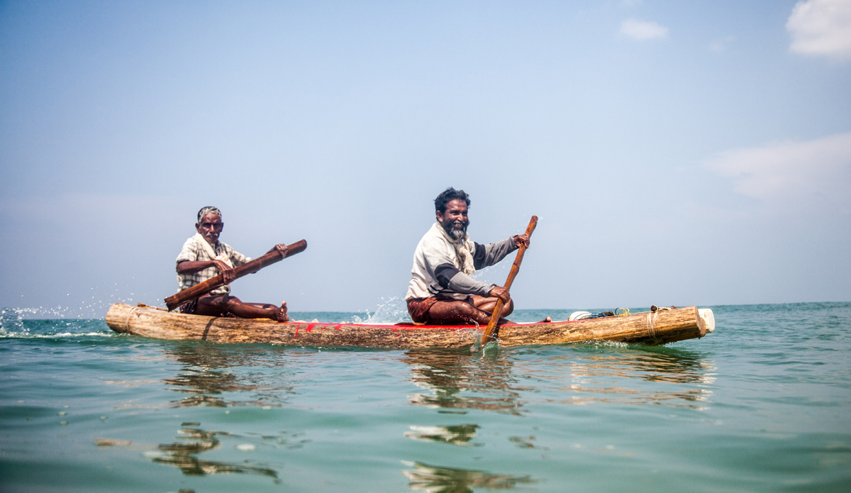 "Fishermen are coming back from the ocean. Their small traditional boat is made from three wooden planks. They are tied together before going to fish and dissembled after coming back. Photo: <a href=""http://www.Godoberta.com\"">GodoBerta.com</a>"