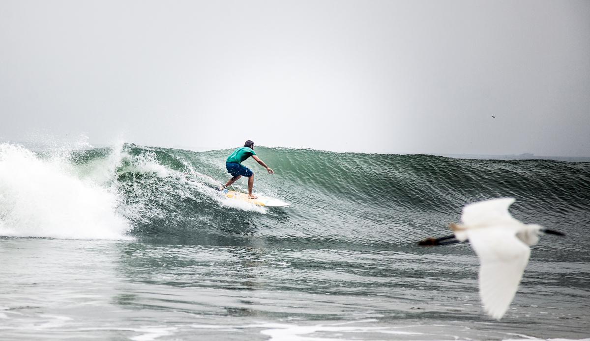 "Lucas surfing the wave and racing birds in Edawa beach.Photo: <a href=\""http://www.Godoberta.com\"">GodoBerta.com</a>"