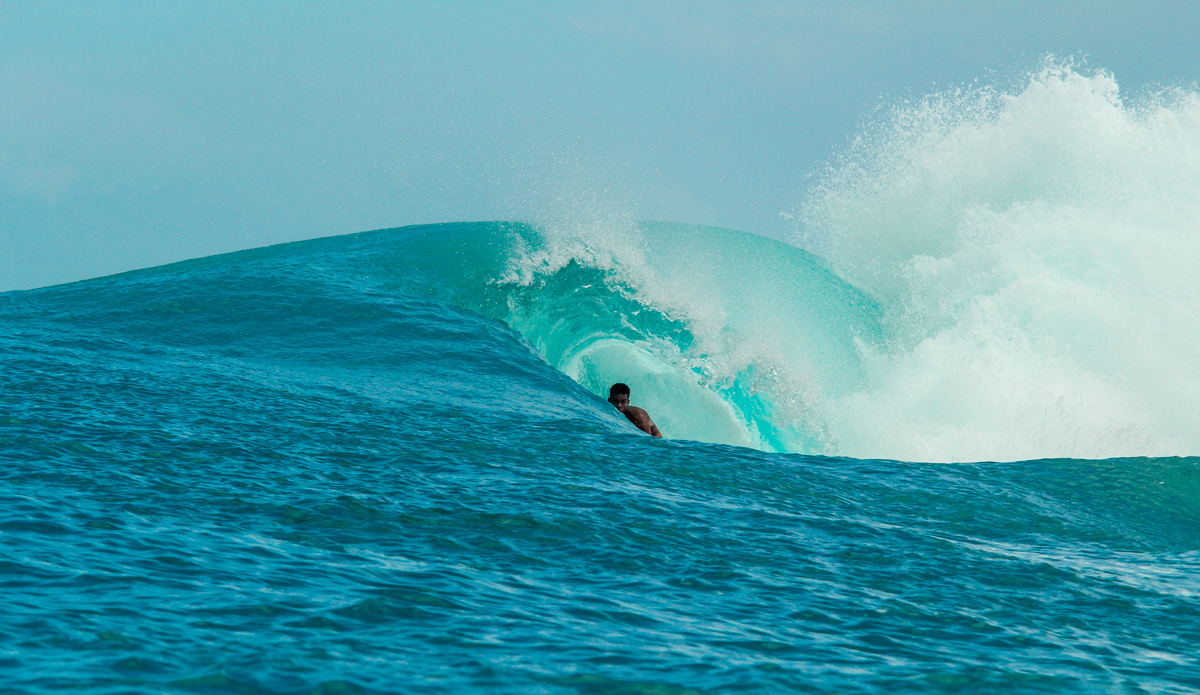 Being in the barrel isn't just nice because of the view…taking cover under Indonesian tubes is the only place where the sea lice can't bite you. Photo: Courtesy of Hunter Jones