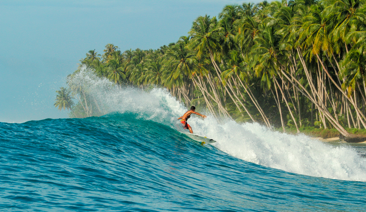One thing to remember while in Indo is to make sure your leash is secured tightly. If you lose your board here the locals would snag it and run into the jungle. You can try and get it back, but they will just run at you with machetes. Photo: Courtesy of Hunter Jones