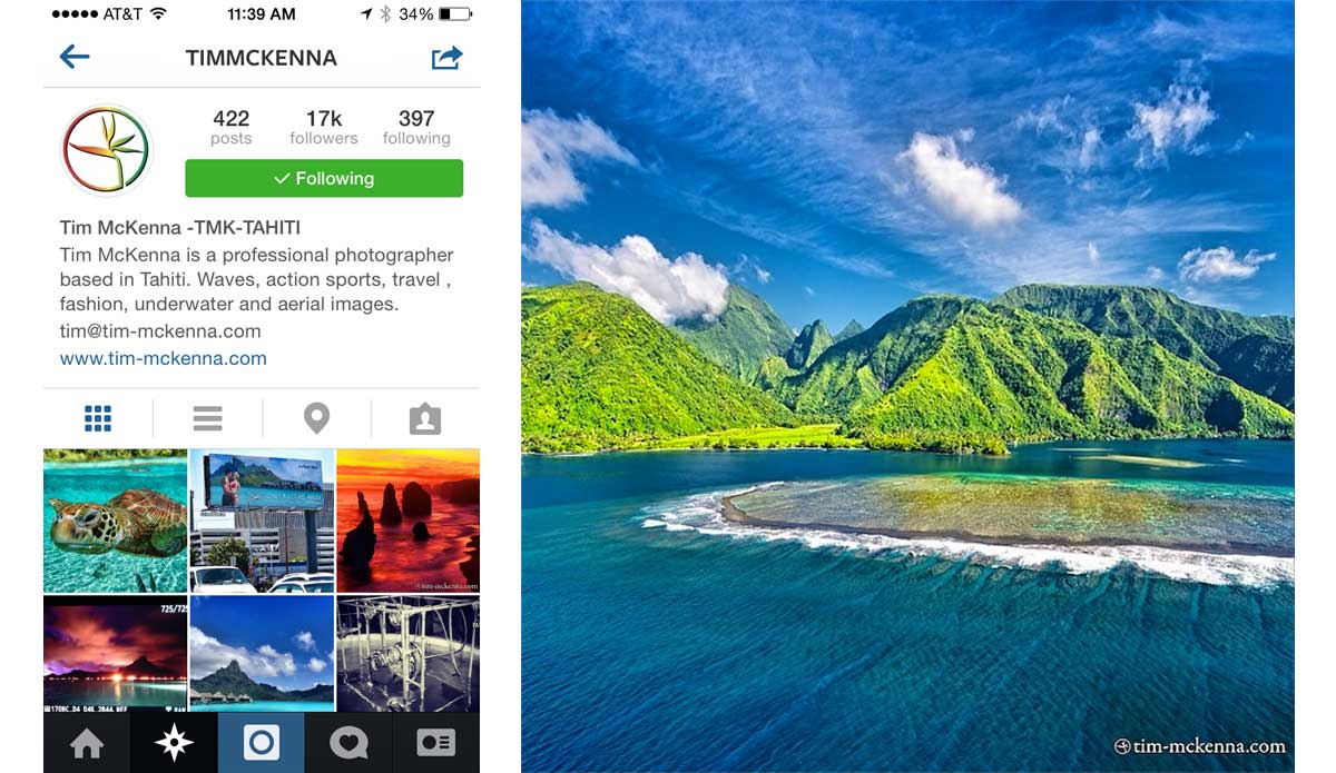 "Modern postcards? Tim McKenna has plenty. The beauty of Tahiti never gets old. Photo: <a href=""http://instagram.com/timmckenna\"">Tim McKenna Instagram</a>"