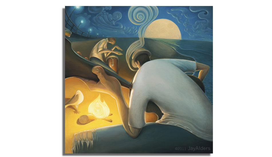 "Burning Inspiration. Art: <a href=\""http://jayalders.com/\"" target=_blank>Jay Alders</a>."