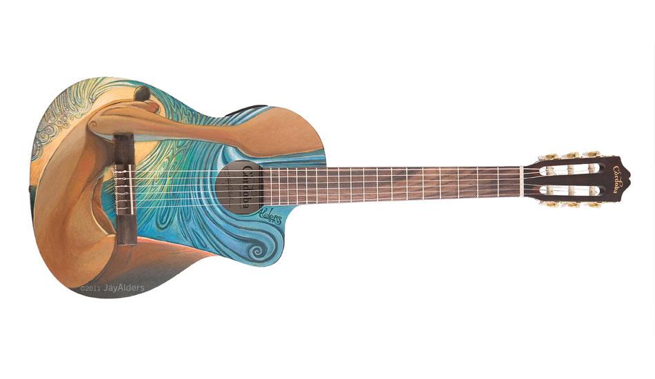 "Cosmic Creek Guitar. Art: <a href=\""http://jayalders.com/\"" target=_blank>Jay Alders</a>."