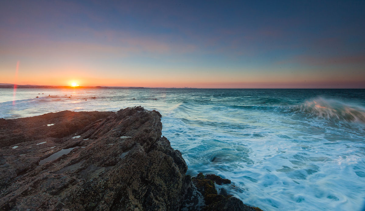 "Sunset wave at surfers at Rainbow Bay. Photo: <a href=\""http://jessethompsonphotographer.com/\""> Jesse Thompson</a>"