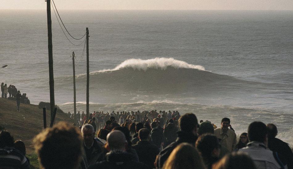 "Thousands flocked to Garrett McNamara. Photo: <a href= \""http://joaobracourt.com/\"" target=_blank>Joao Bracourt.</a>"