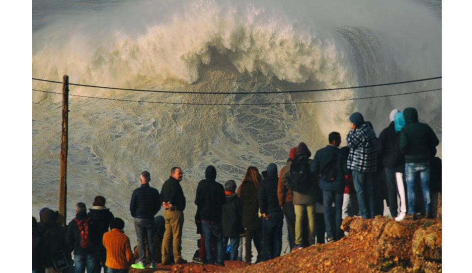 "Even with few waves ridden, it\'s always a show to watch waves hit Nazaré\'s Praia do Norte. Photo: <a href= \""http://joaobracourt.com/\"" target=_blank>Joao Bracourt.</a>"