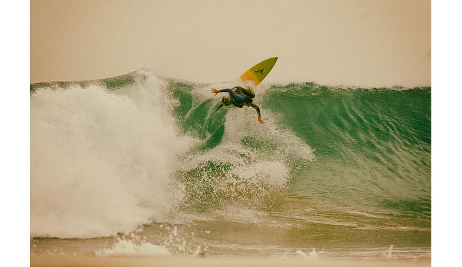 "Local boy Francisco Canelas hitting the lip on a set wave that looks more like G-Land\'s Money Trees. Photo: <a href= \""http://joaobracourt.com/\"" target=_blank>Joao Bracourt.</a>"