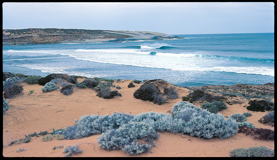 'Cactus' (its actual name is Point Sinclair) is west of Ceduna in South Australia. It's on the coast south of Penong, the last town when you're heading west across the Nullabor Plain. It's always been a wild place. It's isolated, but attracted fishermen and surfers from at least the 1950s. In the early '60s it was 'discovered' by Adelaide surfers and then fiercely protected as a 'secret spot'. This is what it looks like when the wind and the swell have got their acts together. This break was called 'Witzigs' because it was next to a house my brother built. Despite some historical revisionism since, it's still called that.