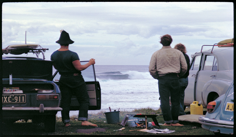 This picture was taken at Lennox Head (just south of Byron Bay in New South Wales) in 1969, and there are early morning arrivals as well as people who've slept in their cars. You can't drive to this spot on the headland any more, and simple camping-out is frowned upon almost everywhere. I understand all the reasons, the inevitable result of the pressures of population, but we've lost something.