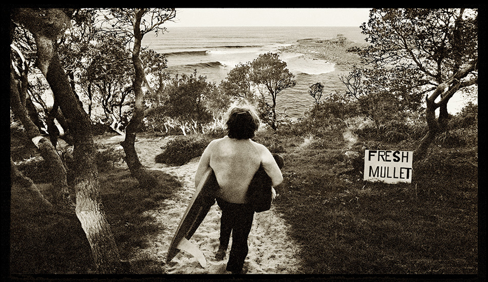 If there's one picture that captures, for me, the romance of surfing on the north coast of NSW in the early 1970s, then it's this one. The track down to the surf went straight off the car park and wound its sandy way through the banksia trees. The view of the lineup at Angourie was perfectly framed. I'd forgotten about the sign until I had a close look at the neg nearly 40 years later. Alex, the caretaker of the reserve, was advertising the fresh fish that he sold in his little shop.