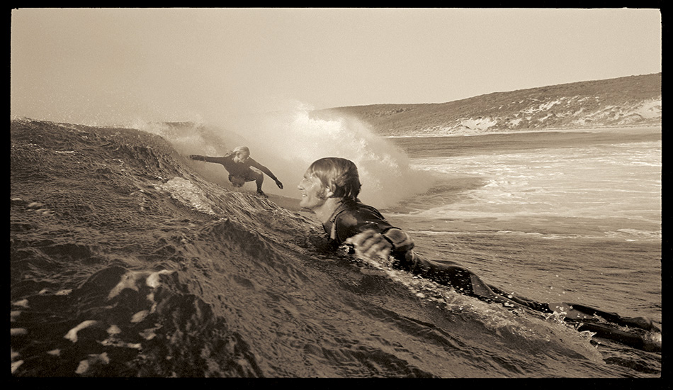 Nigel Coates and Murray Smith surfing at Smiths Beach just south of Yallingup. Much of this superb coast has been protected as a national park.