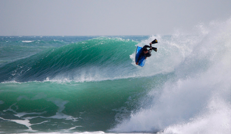"""The south of Spain is not the best place to bodyboard but here we see an unusual bowling  machine air reverse. Photo: <a href=\""""http://www.jorgeibáñez.com\""""> Jorge Ibáñez</a>"""