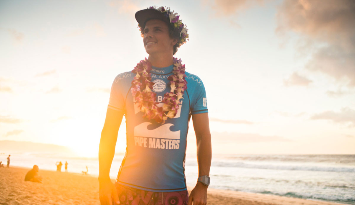 """Julian Wilson. A stellar end to a difficult season. Pipe Master and Triple Crown winner. Photo: <a href=\""""http://instagram.com/justinjayphoto\""""> Justin Jay</a>"""