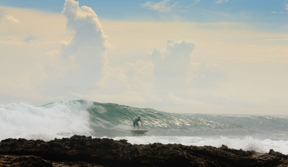 Our buddy Derek leaning into one of the friendlier reef set ups.