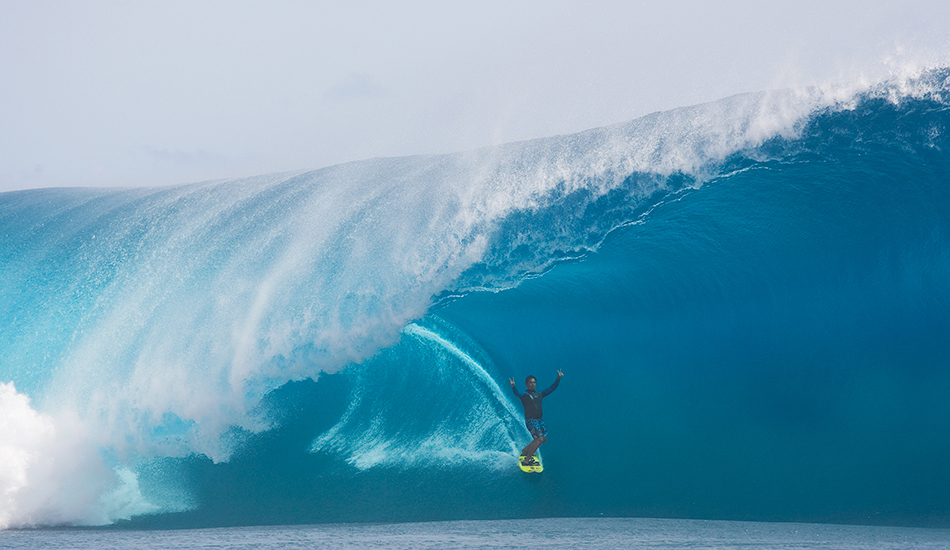 """Raimana's a legend. The guy's throwing double peace signs in the tube and makes it look fun and easy. Image: <a href=\""""http://www.jrkenworthy.com/\"""" target=\""""_blank\"""">Kenworthy</a>"""