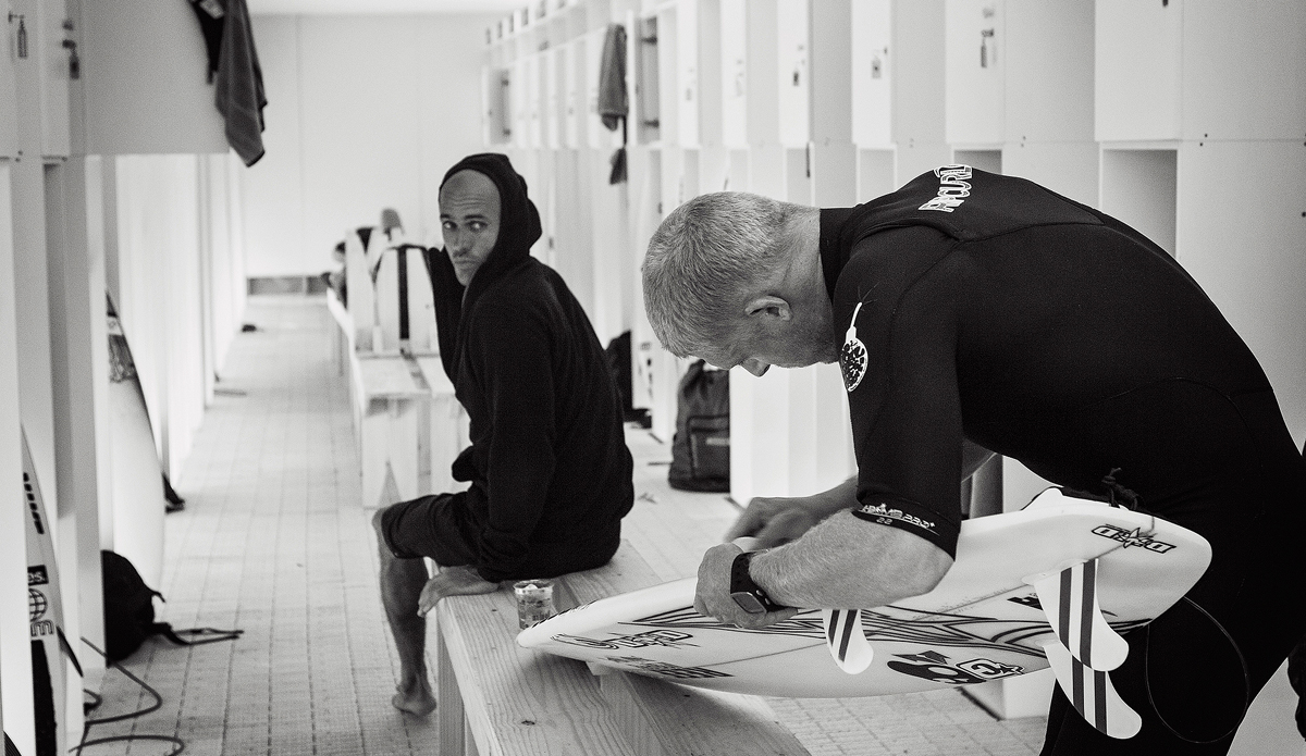 """Two titans of their sport, Kelly Slater and Mick Fanning. Photo: <a href=\""""http://www.kirstinscholtz.com/\"""">Kirstin Scholtz</a>"""