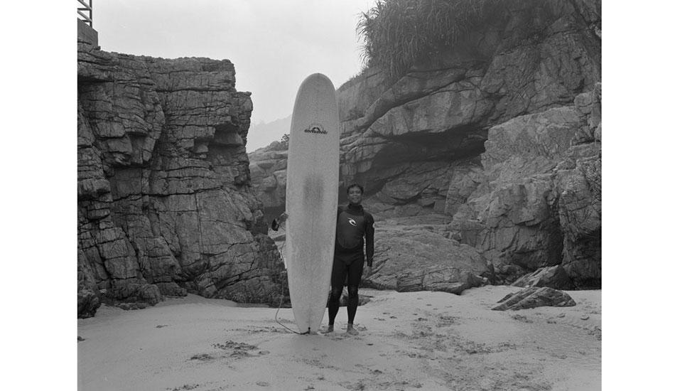 "Portrait of surfer in the cove. Photo: <a href=\""http://www.stephenarthurmilner.com\"">Stephen Milner</a>"