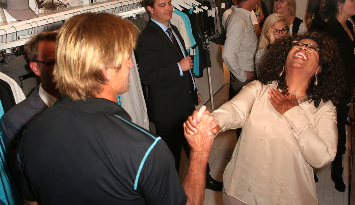 Oprah lets loose for her main man Laird. (Photo by Ari Perilstein/Getty Images for Laird Apparel LLC)